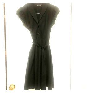 Black Belted A-Line Dress - Short Sleeved
